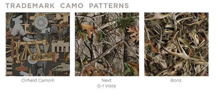 Available in four licensed camo patterns.