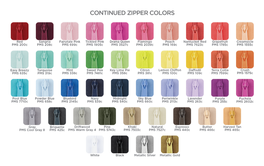 Zippers Color Chart