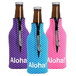 Zippered Bottle Coolie 4CP with Imprinted Bottle Opener
