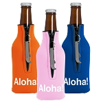 Zippered Bottle Coolie with Blank Bottle Opener