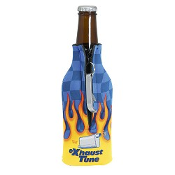 Four-Color Process Zippered Bottle Coolie with Blank Bottle Opener