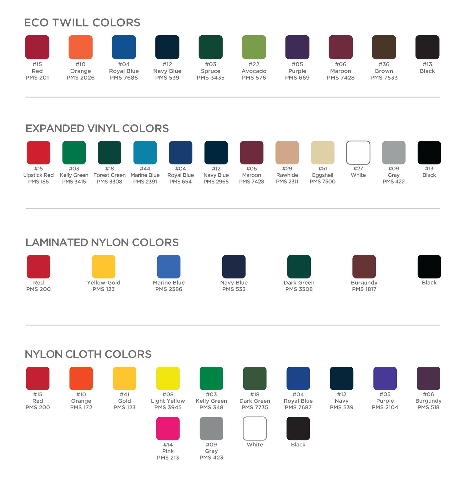 Numo Color Charts