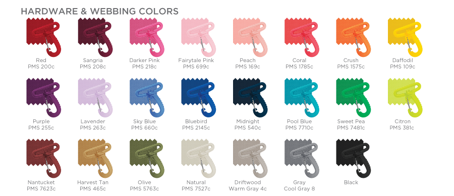 Webbing & Hardware Color Chart