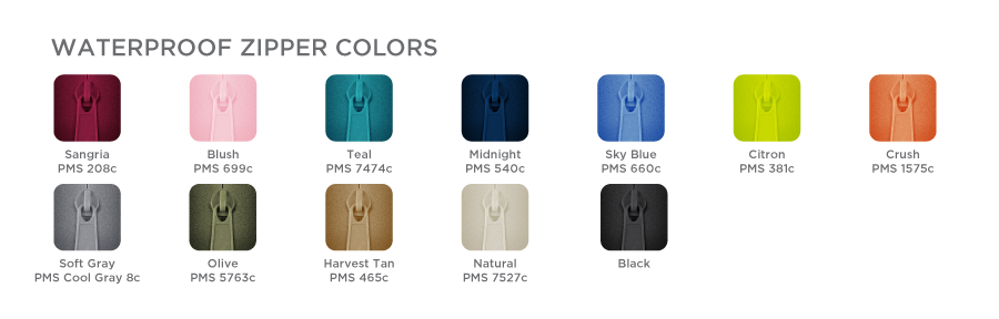Waterproof Zippers Color Chart