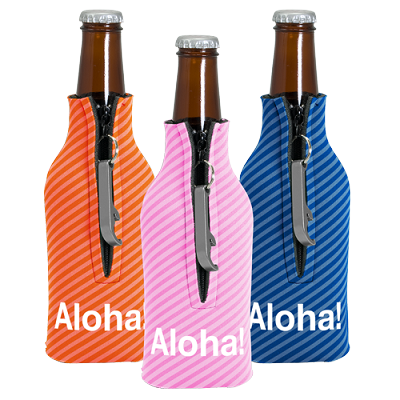 Zippered Bottle Coolie 4CP with Blank Bottle Opener