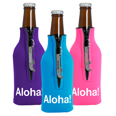 Zippered Bottle Coolie with Imprinted Bottle Opener