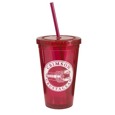 Double Wall Acrylic Tumbler with Lid and Straw 16 oz.